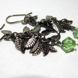 Gunmetal Leaf Earrings with Peridot Swarovski Crystal